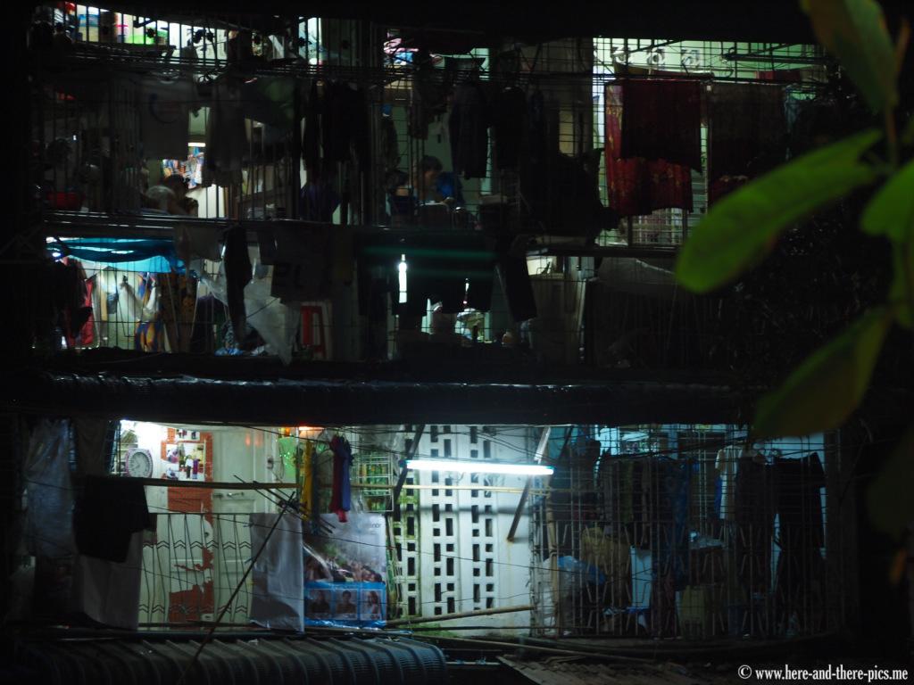 Flats by night in Yangon, Myanmar