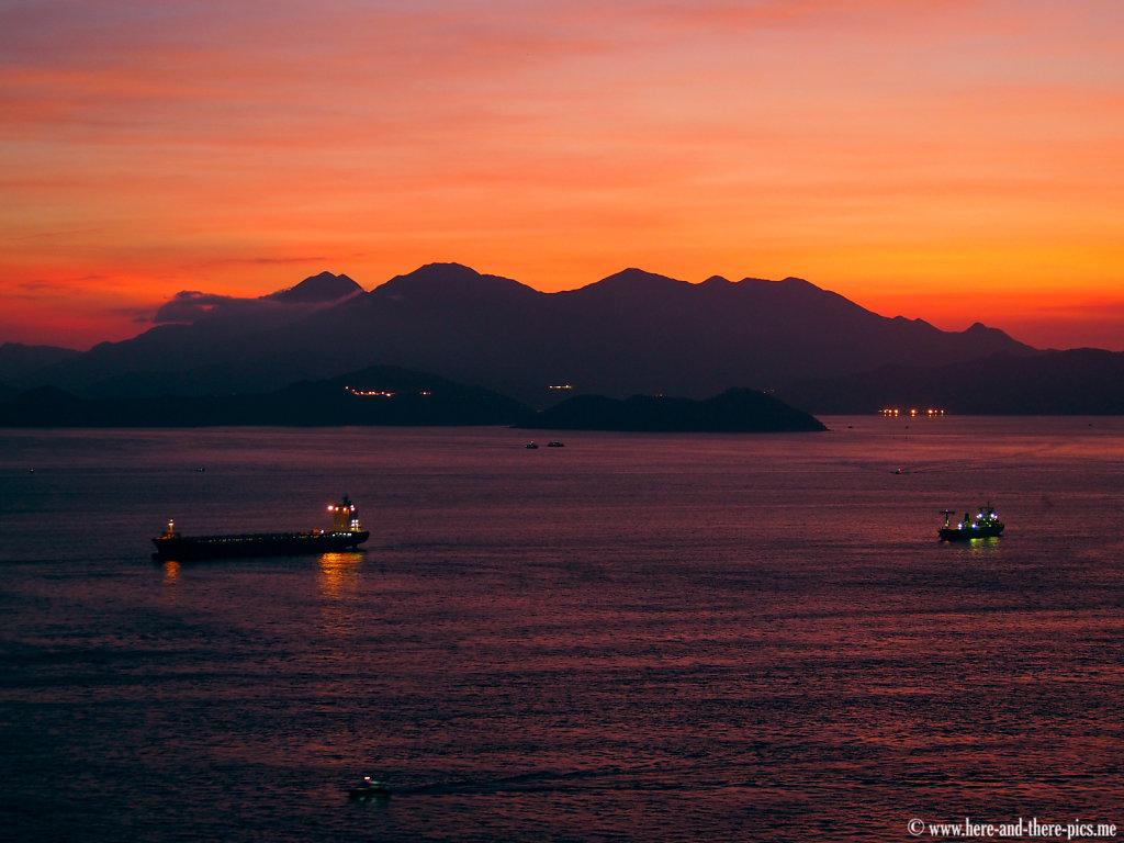 Sunset, Hong Kong bay